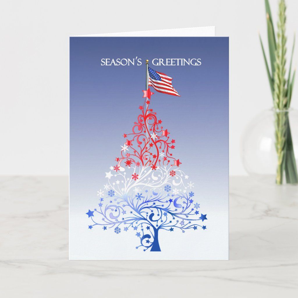 Patriotic Christmas Tree With American Flag Holiday Card Zazzle Com In 2020 Patriotic Christmas Patriotic Christmas Tree Military Christmas Cards