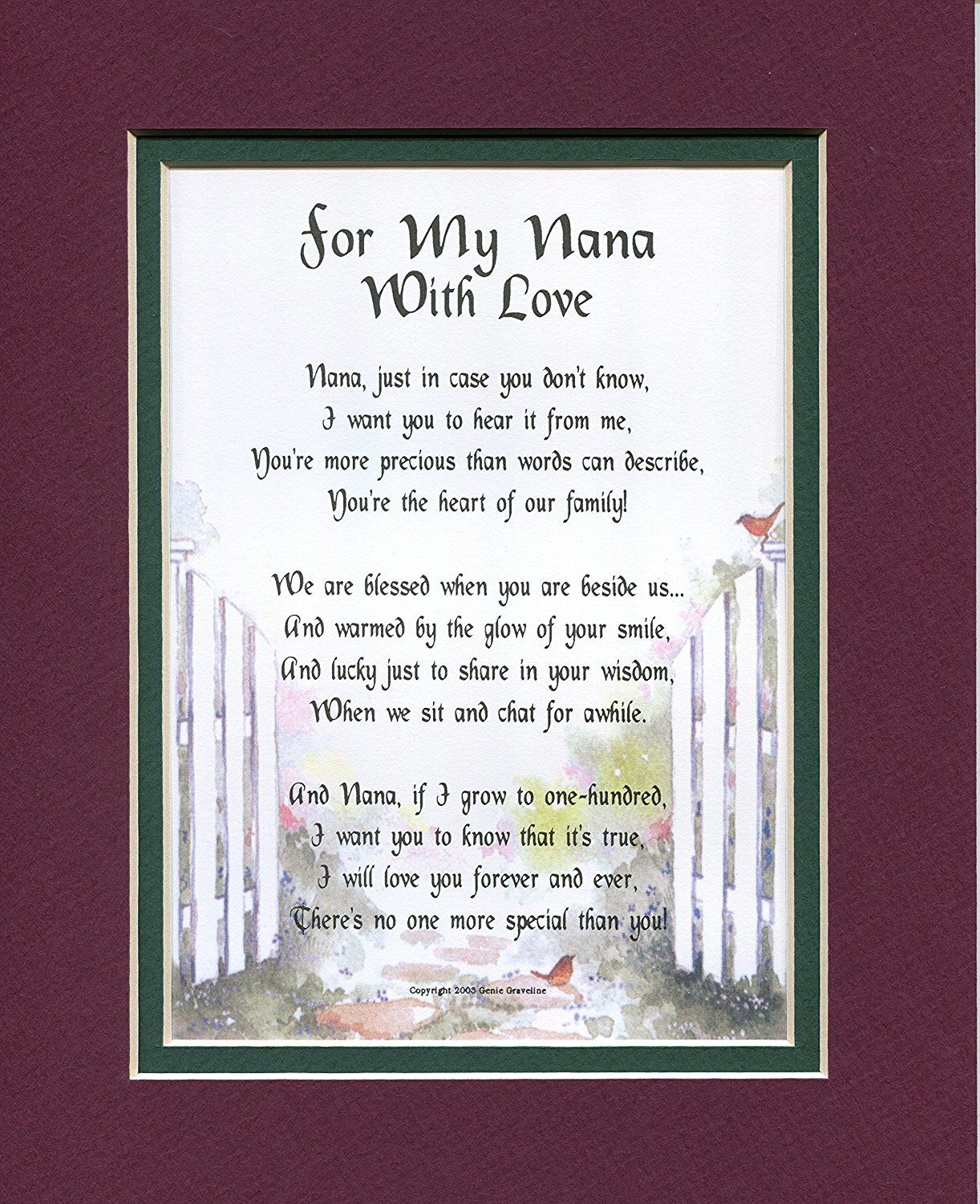 Amazon A 50th 60th 70th 80th Birthday Gift Present Poem For Nana 30 Home Decor Packages Posters Prints