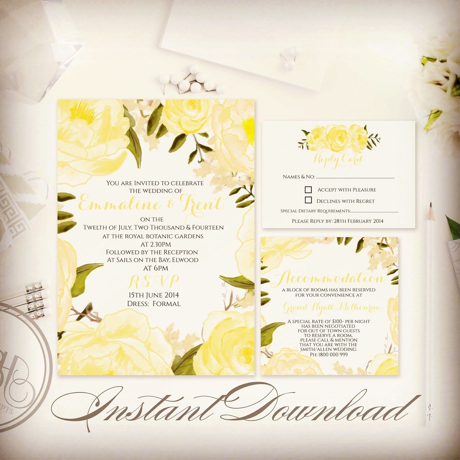 Gorgeous Yellow Lemon Roses Wedding Invite Package Instant Download