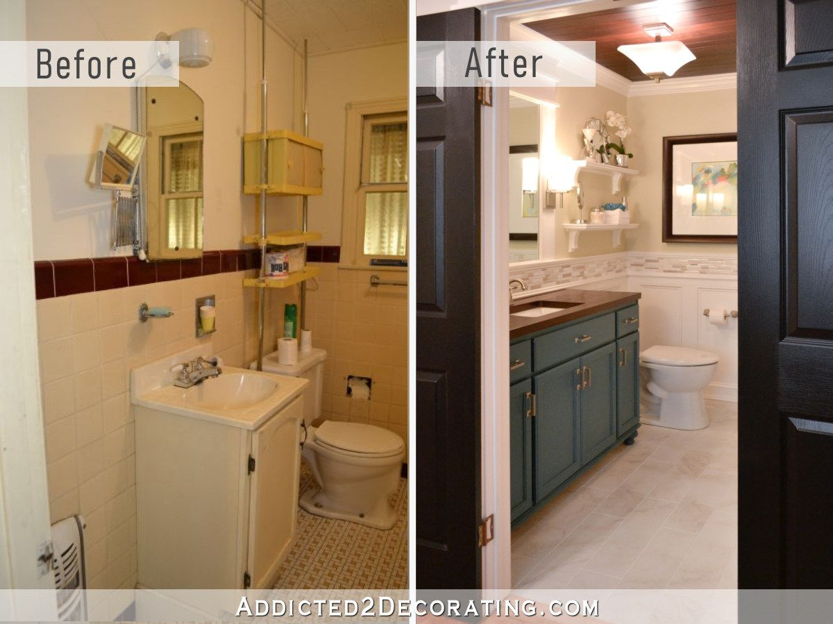 Diy Bathroom Remodel Before And After Addicted 2 Decorating Small Bathroom Remodel Diy Bathroom Remodel Bathrooms Remodel