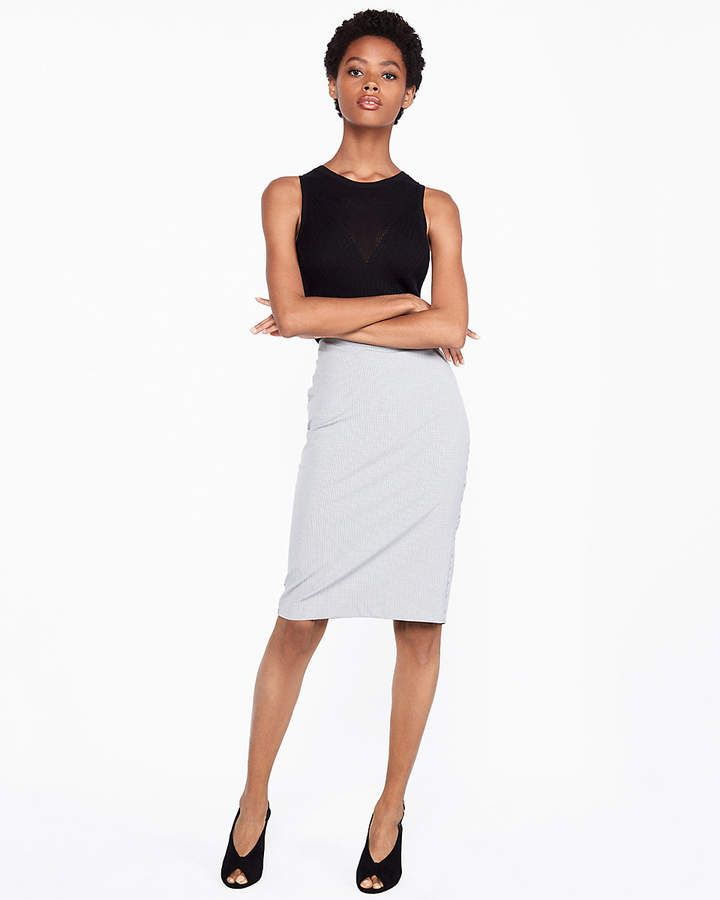 31d45a8faa Express High Waisted Clean Front Micro Check Pencil Skirt | Products ...