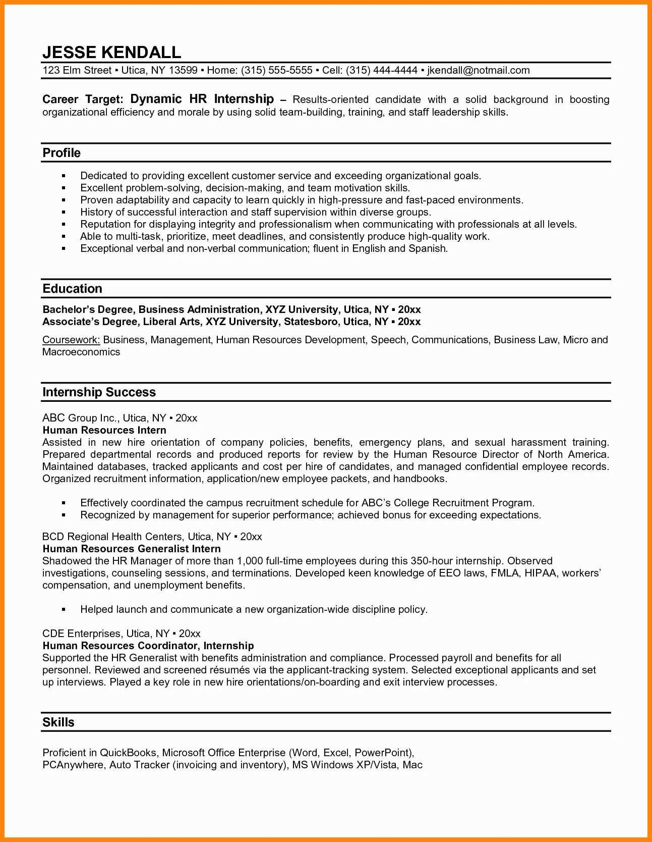 14 15 Accounting Internships Resume Nhprimarysourcecom Image