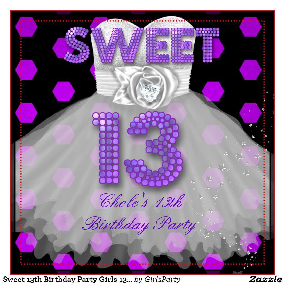sweet_13th_birthday_party_girls_13_teen_purple_invitation ...
