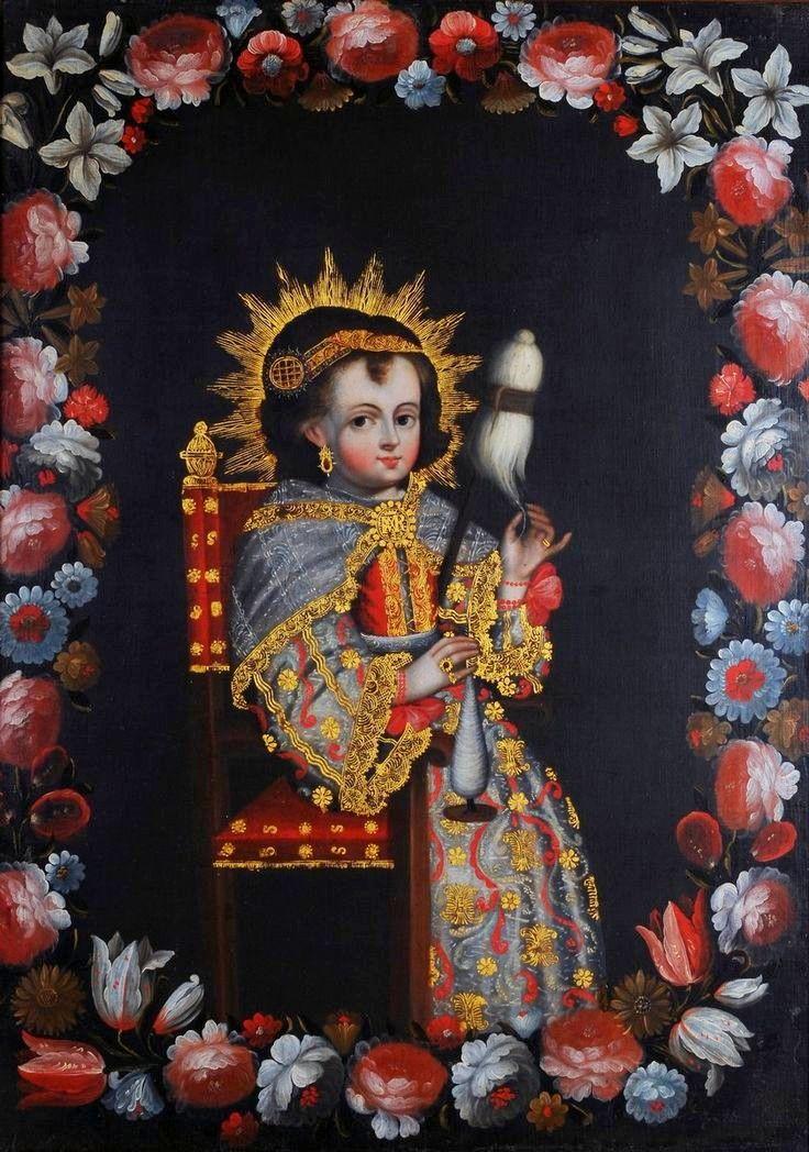 La Vierge Marie enfant. Huile sur toile 18ème siècle - Ecole de Cuzco au Pérou.