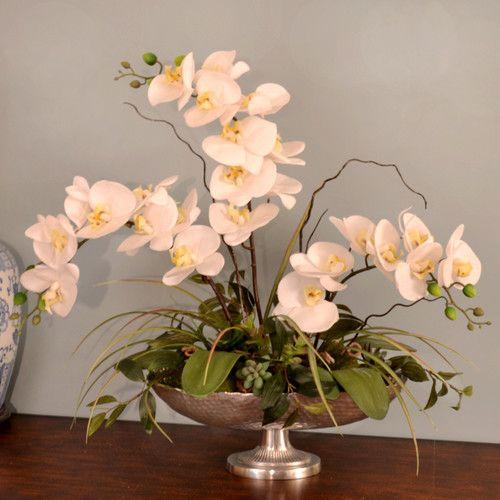 found it at wayfair silk orchid in pedestal bowl - Silk Orchids