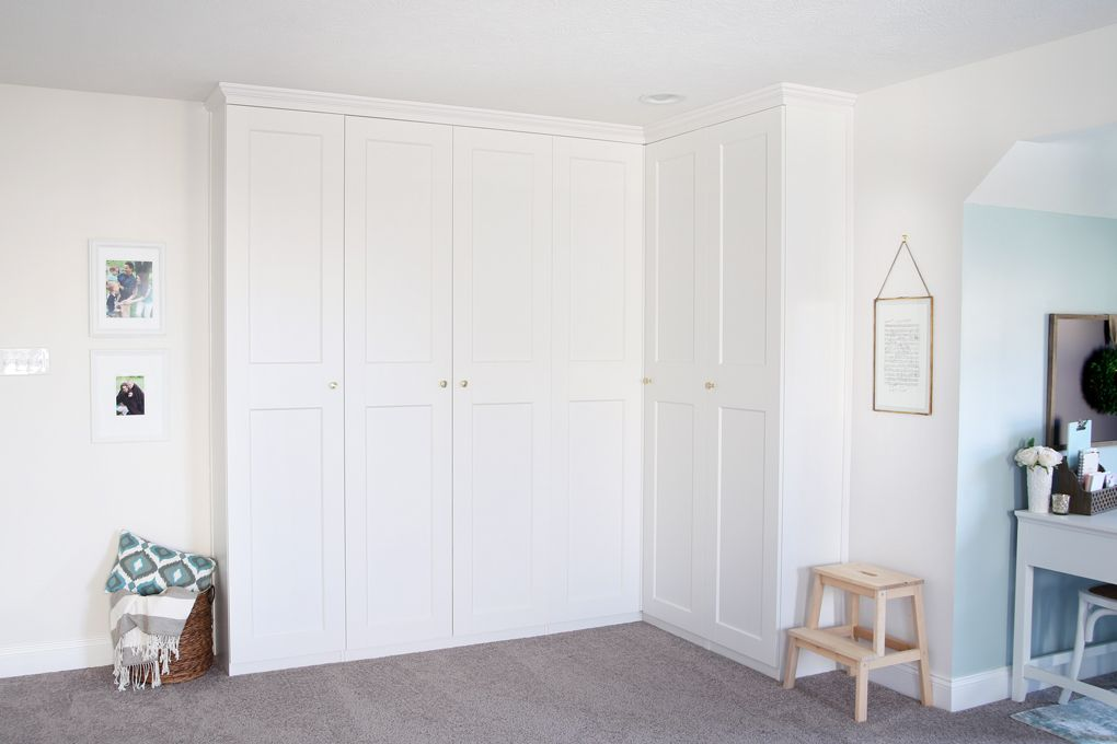 Home creating built in office storage with the ikea pax system organized office home office organization pax wardrobe with grimo doors as office storage