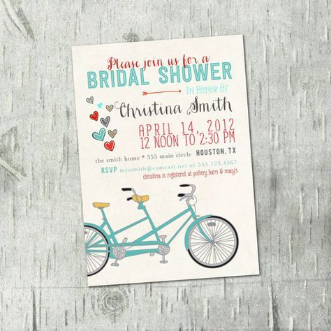 Tandem bicycle bridal shower invitations wedding bridal shower digital printable tandem bicycle bridal shower invitations wedding bridal shower wedding filmwisefo