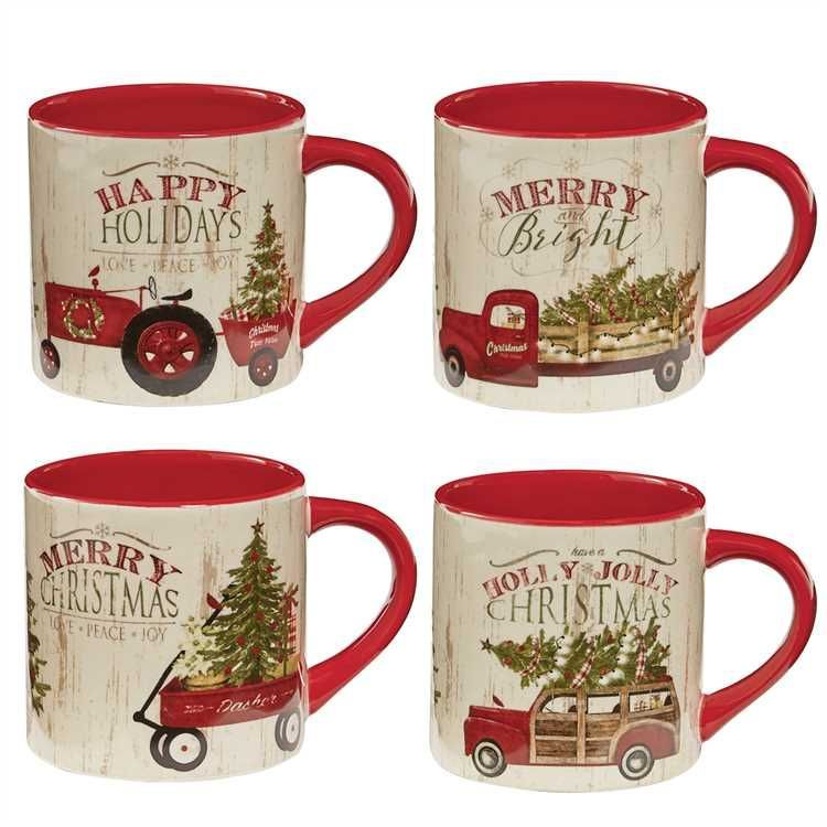 Over The River Christmas Mugs Set Of 4 Christmas Mugs