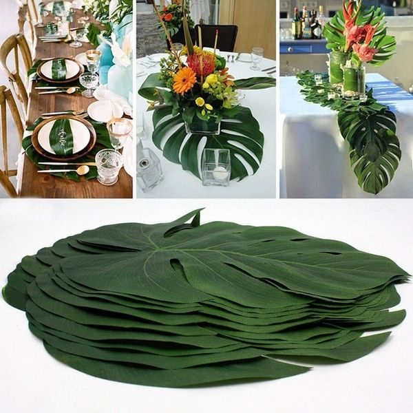 6 Tropical Artificial Palm Leaves Jungle Foliage Hawaiian Luau Summer Party Dec #hawaiianluauparty