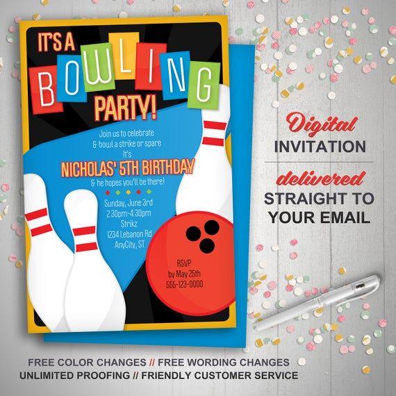 Bowling Invitation, Retro bowling invite, bowling birthday invitation, kids birthday, bowling party invitations, diy invitations