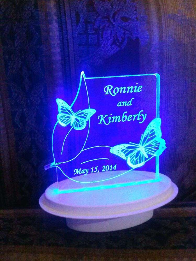 Personalized 2 Erflies Erfly Wedding Cake Topper Optional Led Light Base