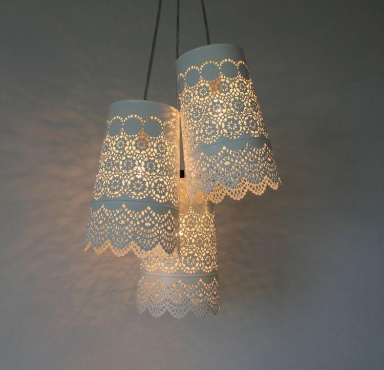 lampenschirm basteln vintage stil weiss spitze papier gute ideen pinterest lampen. Black Bedroom Furniture Sets. Home Design Ideas