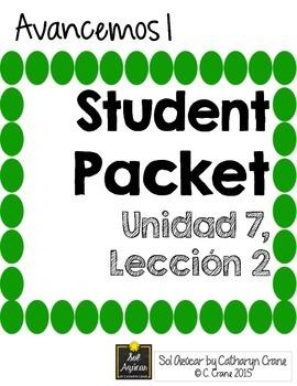 Avancemos 1 Unit 7 Lesson 2 Student Handouts And Notes Vocab Handouts Negative Words
