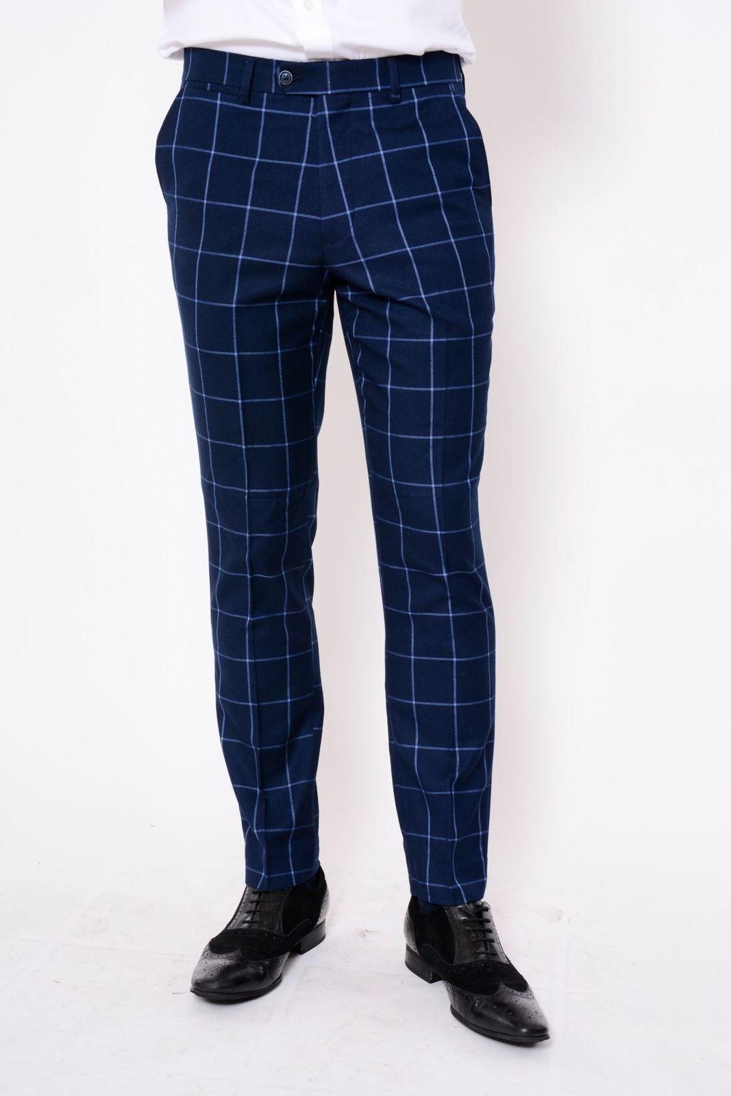 Hommes Marc Darcy Navy Tweed Pantalon carreaux Tailored Slim Smart Pantalon
