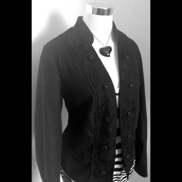 {Georgous} Black Lace Military Inspired Jacket 14 Such a fun edgy beautiful jacket. Lace detail and a military feel. Maurices size O. No zero the letter 0. Fits size 14-16 according to Maurices size chart. No damage holes rips stains etc.  decorative buttons Maurices Jackets & Coats Blazers