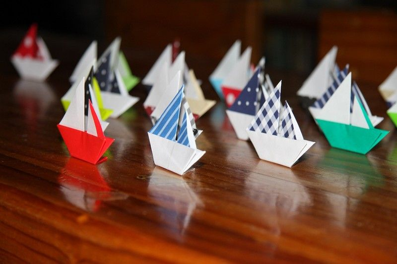 Basteln Kindern Origami Segelboot Falten Kindergeburtstag