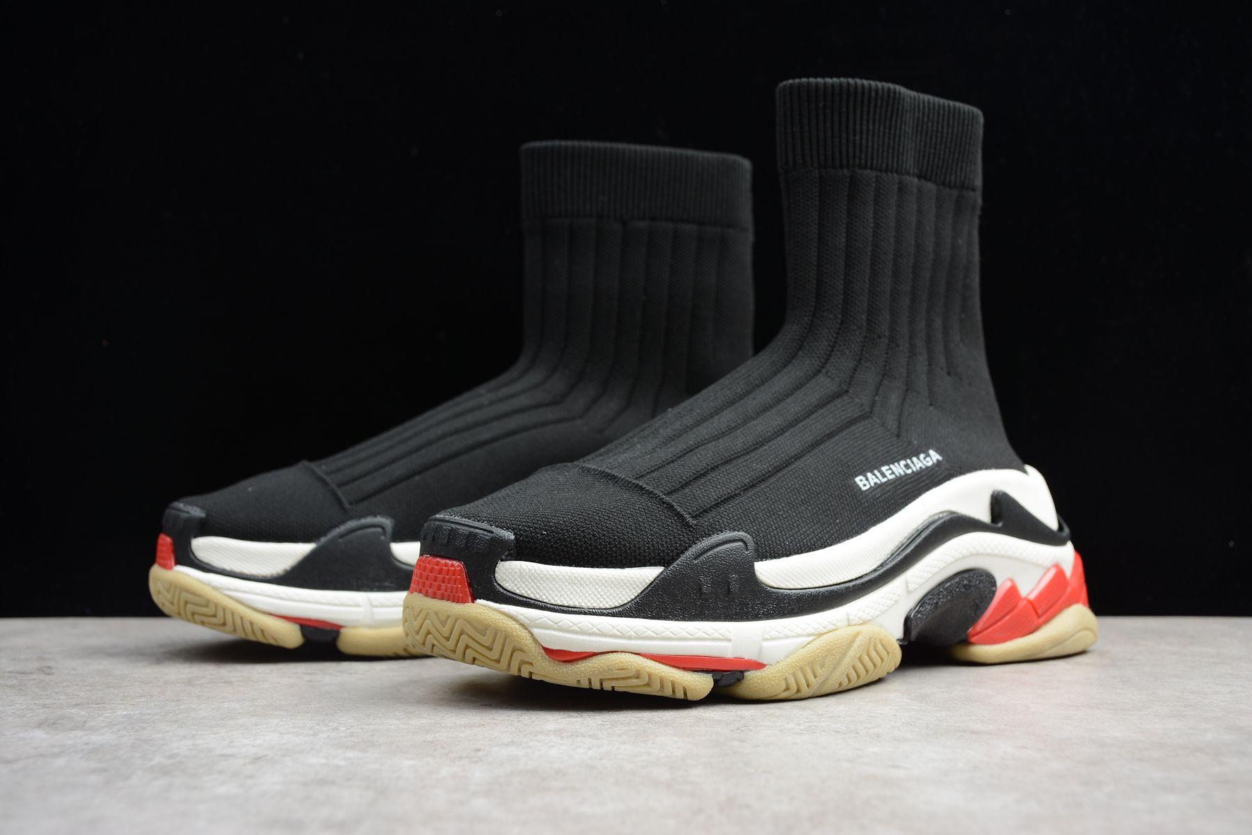 a37e51f97f56f Women s Custom Balenciaga Triple S Speed Runner Black Red Dad Shoes For Sale