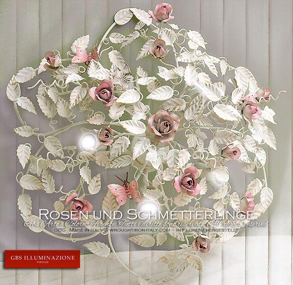 deckenleuchte rosen und schmetterlinge mit f nf lampen f r das schlafzimmer im romantischen und. Black Bedroom Furniture Sets. Home Design Ideas