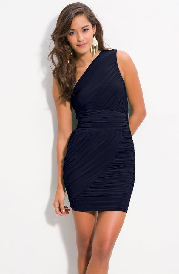 Soprano Ruched One Shoulder Dress In Navy From Nordstrom. Wedding Guest  Appropriate?