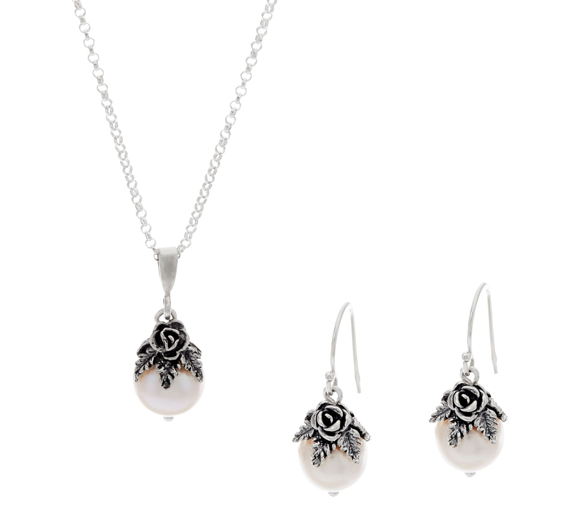 Or Paz Sterling Silver Cultured Pearl Necklace And Earring Set From Qvc