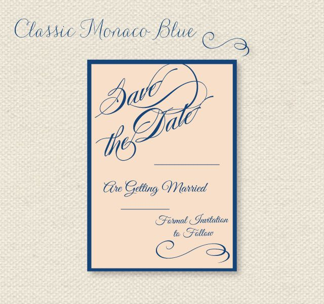 Free Printable Save The Dates In Pantone S 2013 Monaco Blue And Linen Via Wantthatwed Save The Date Templates Save The Date Invitations Free Wedding Printables
