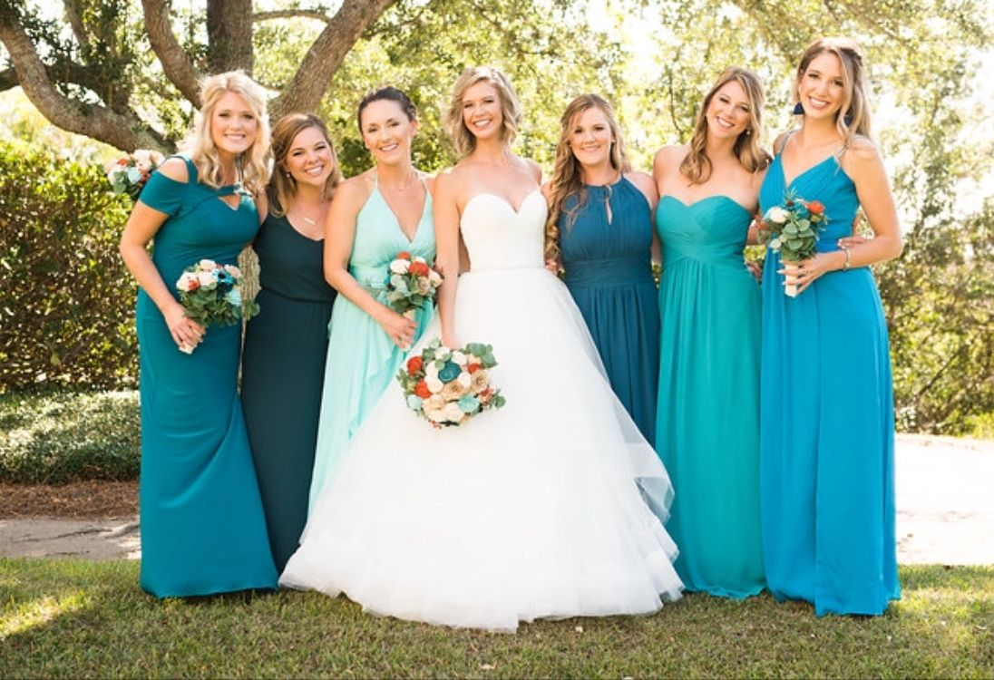 Teal And Aqua Bridesmaids Dresses Southern Wedding Eco Flowers