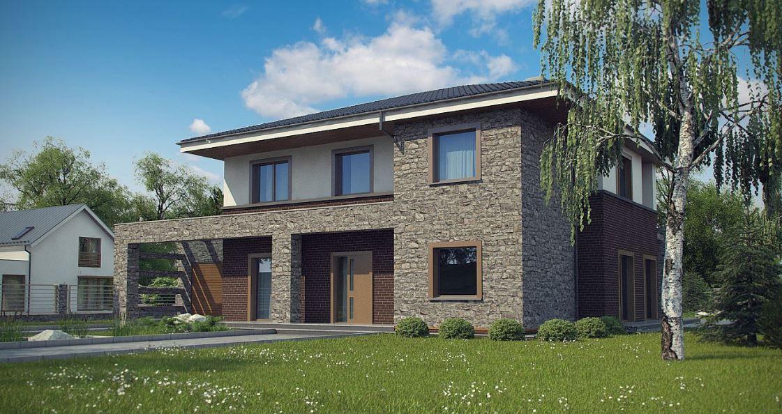 Hermosa fachada de casa moderna de dos pisos con piedra for Casa moderna ladrillo