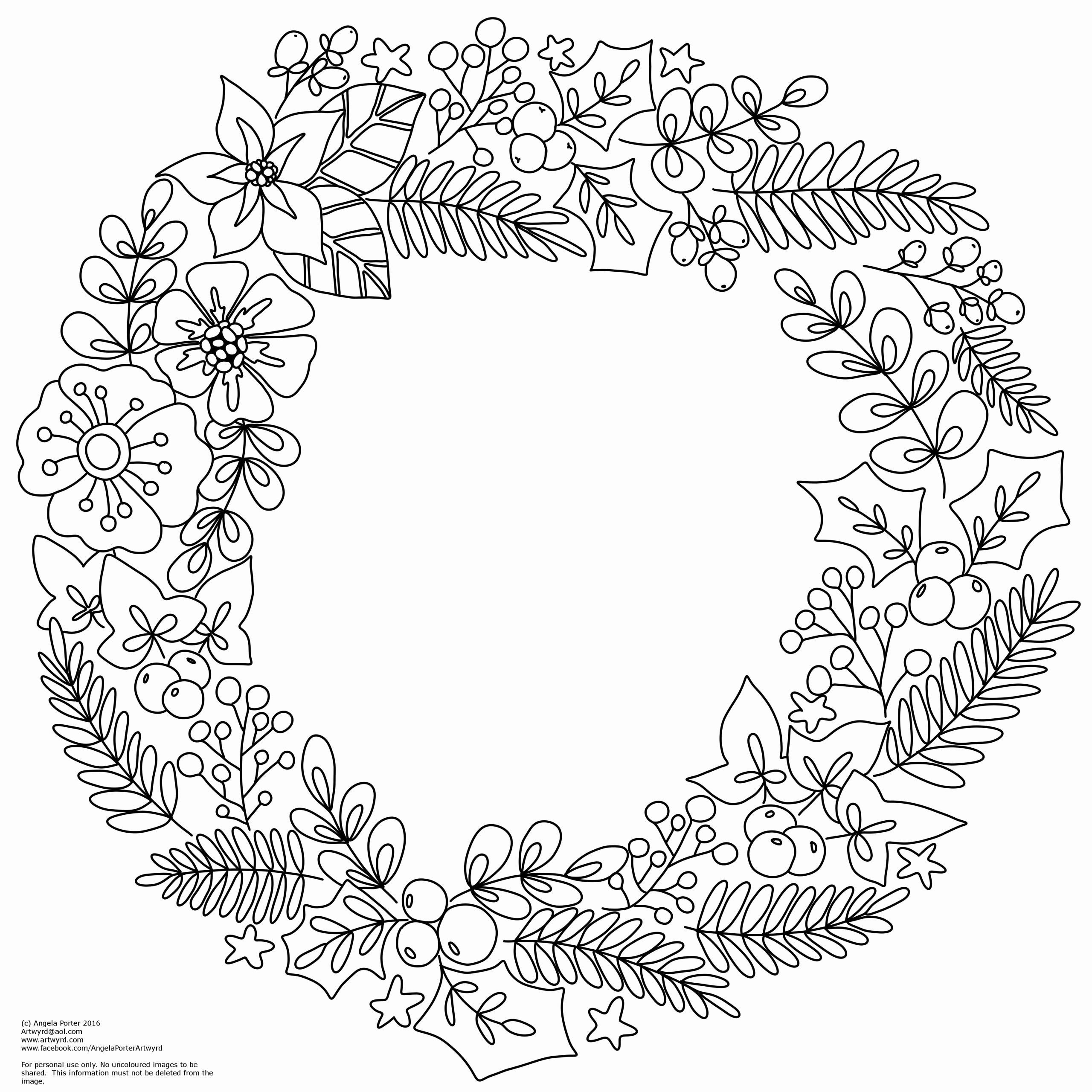 Adult Christmas Wreath Coloring Pages