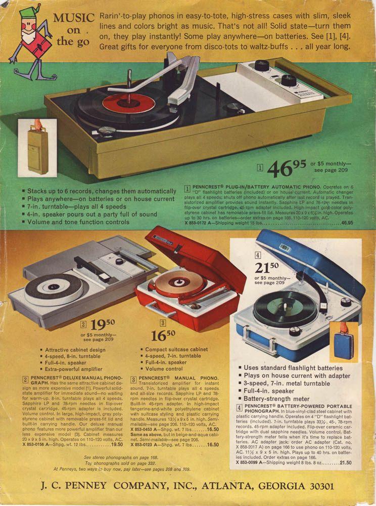 Penncrest Turntables 1966 Vinyl Record Player Vintage
