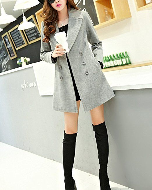 on sale 3d951 6ae7c Damen Doppelseitig Wintermantel Trenchcoat Doppel breasted ...