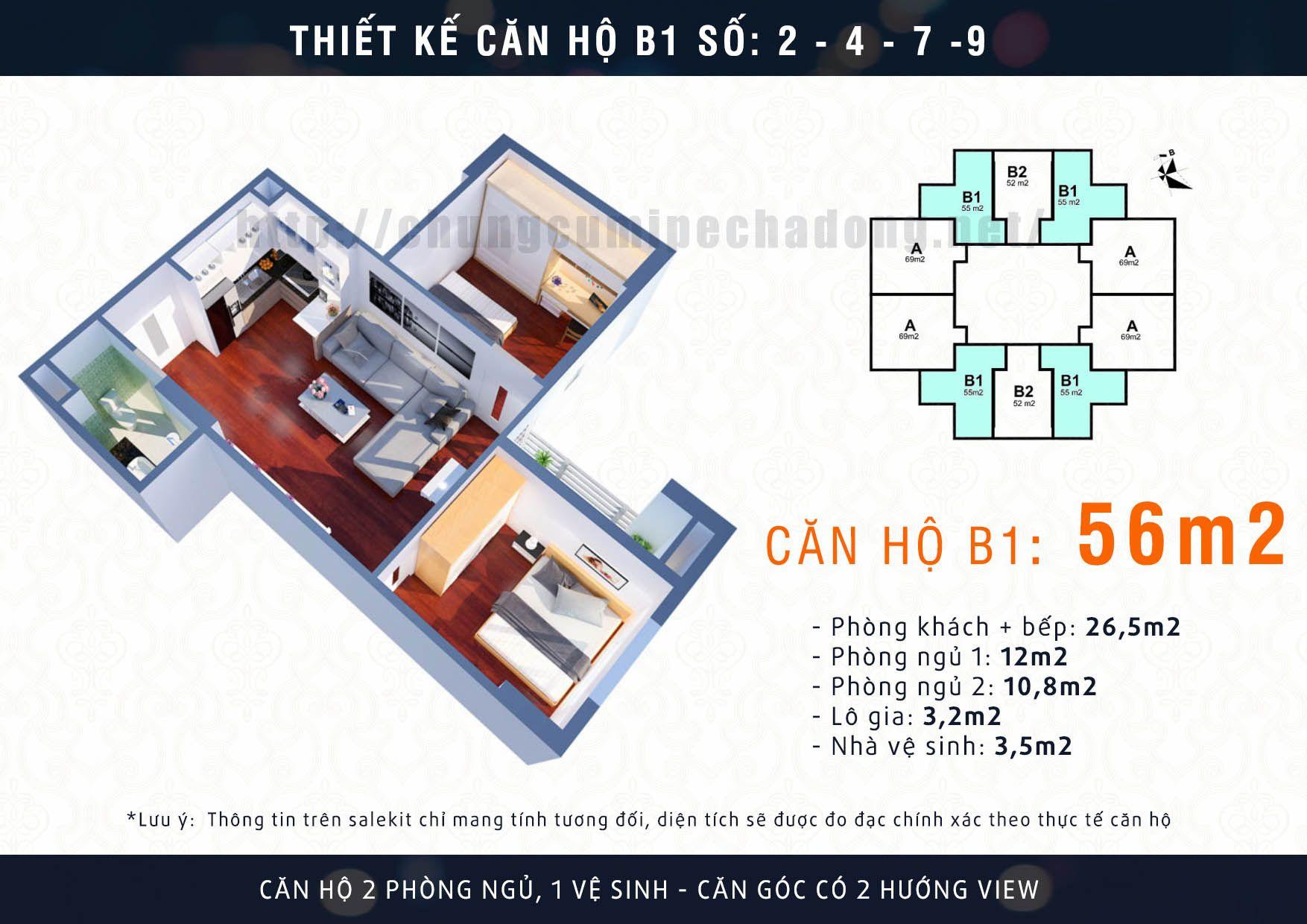 Thiết kế căn hộ 56m2 dự án Mipec Kiến Hưng | Thiết kế căn hộ ...