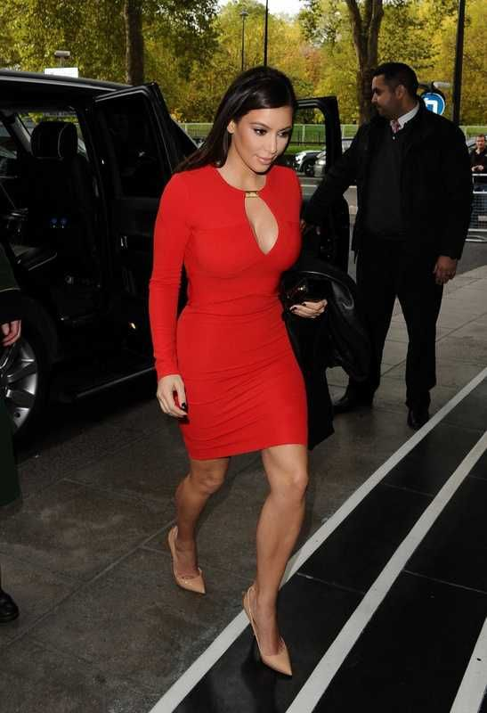 Herve Leger Kim Kardashian Keyhole Red Long Sleeve Bandage Dresses