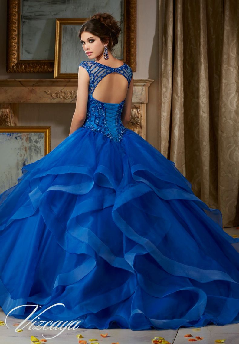 Morilee vizcaya quinceanera dress jeweled beading on flounced