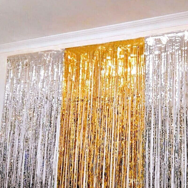 2m Birthday Party Dress Up Item Shine Curtain Gold Silver Balloon 50th Birthday Party Themes 50th Birthday Party Supplies Silver Balloon