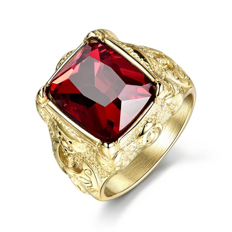 Mens Vintage Gold Tone Stainless Steel Round Red Garnet Gemstone Finger Ring