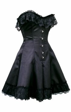 Black Satin Skirted  Corset