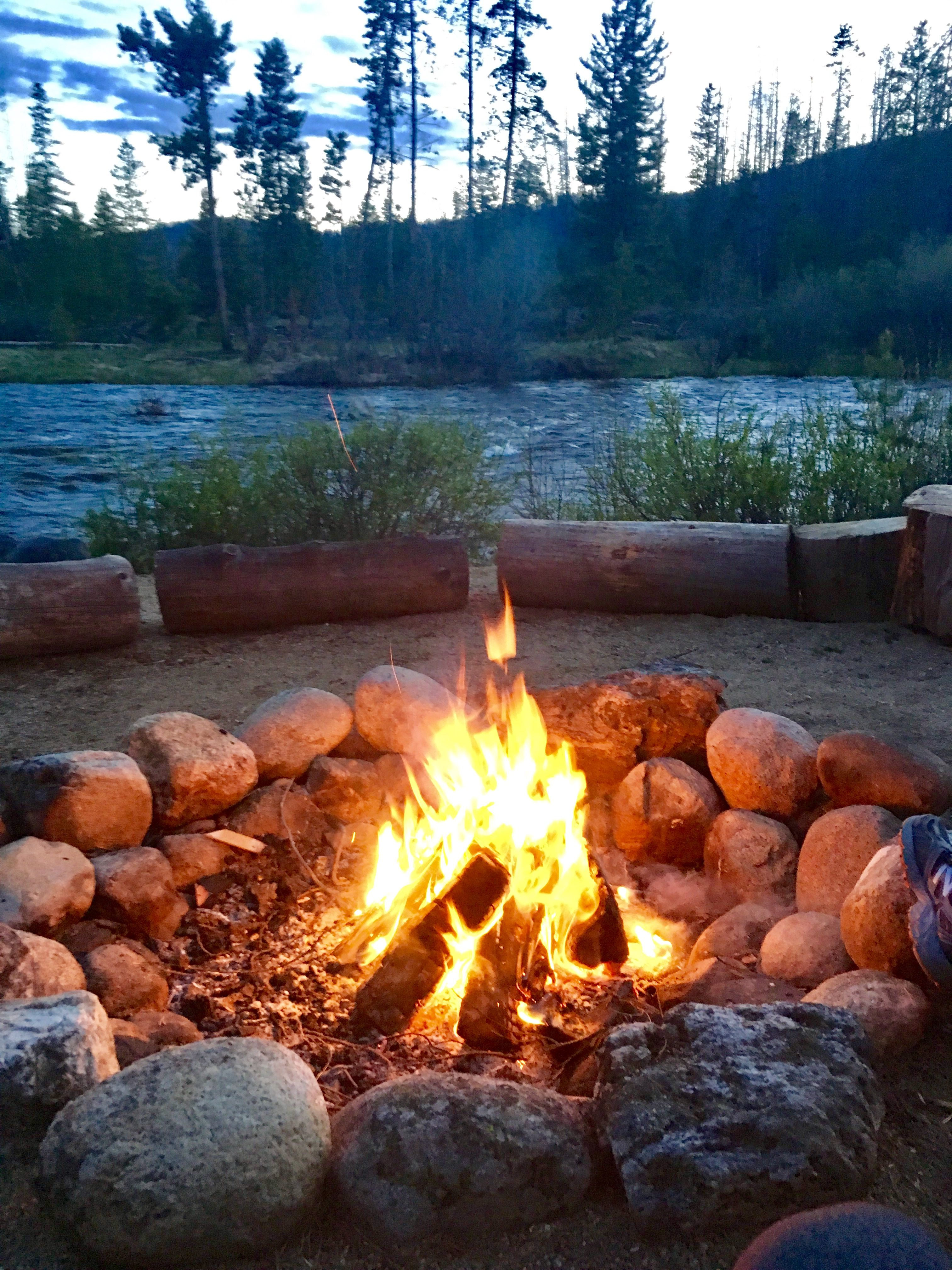 Beachside fire pit on the colorado river in grand lake