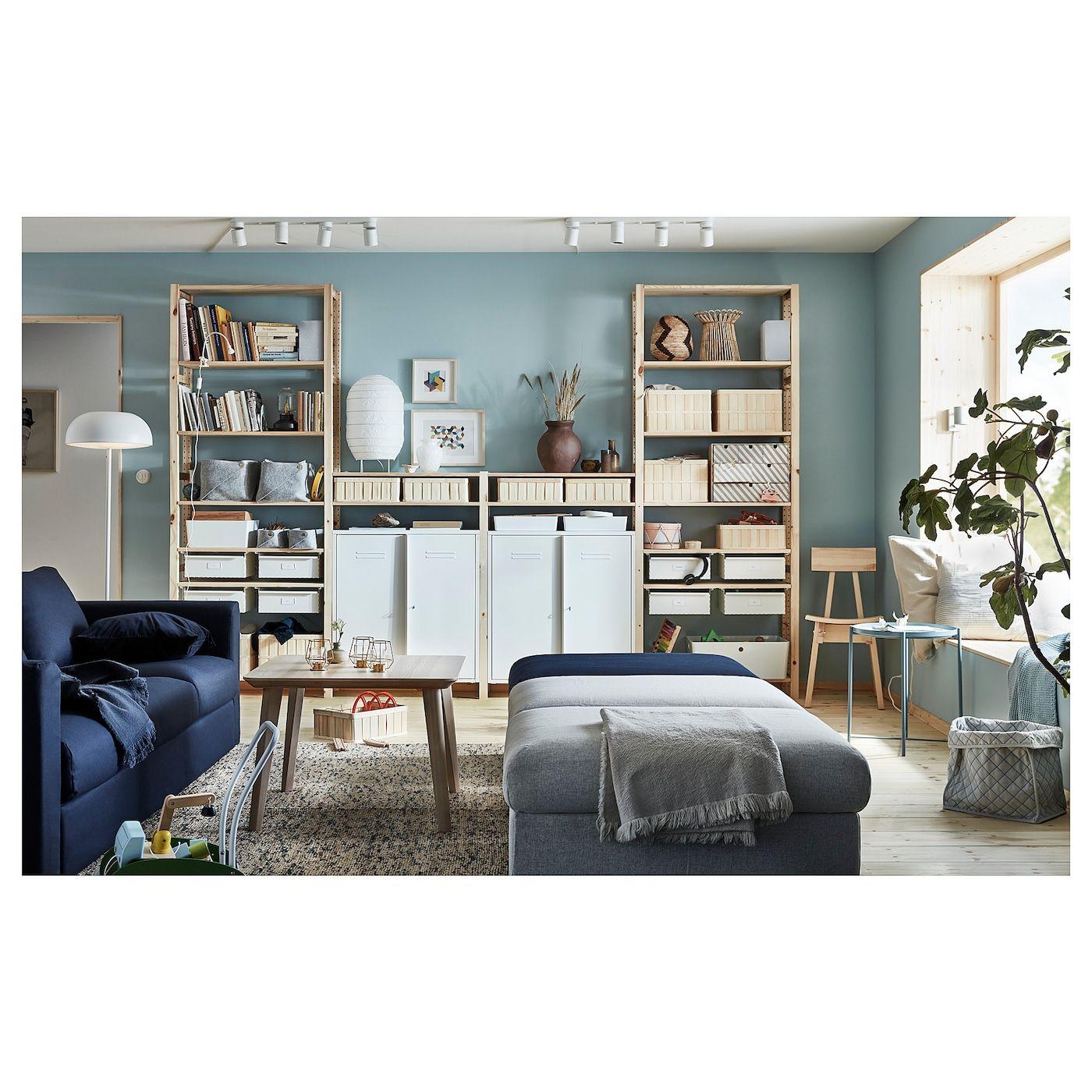 ikea ivar pine white 4 section storage combination