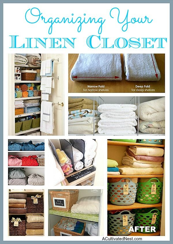 organizing your linen closet autres good pinterest organisation maison rangement et. Black Bedroom Furniture Sets. Home Design Ideas