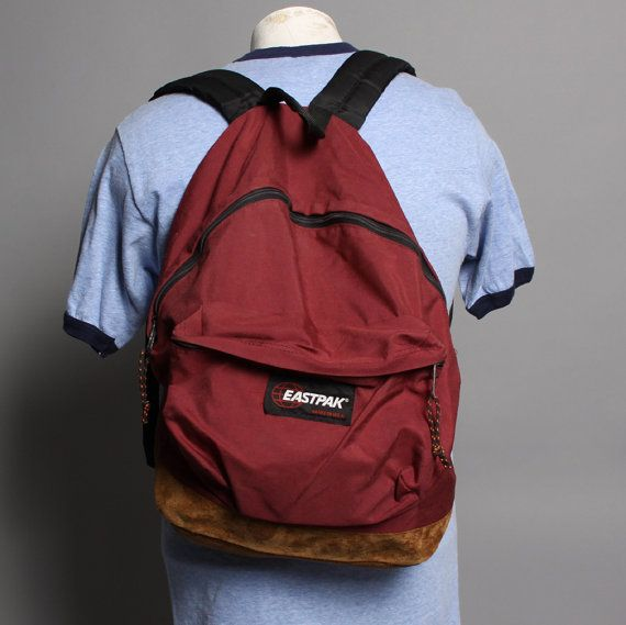 Vintage EASTPAK BACKPACK   Burgundy Canvas   Leather Base