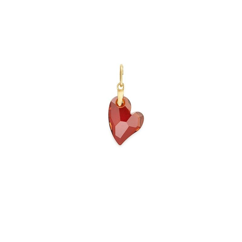 8023c897c Red Magma Heart Necklace Charm with Swarovski® Crystals - Rose Gold