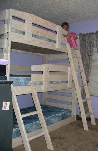 Diy Bunk Bed Triple Bunk Bed I Think This One Also Could Be Gender Diy To T Diy Bunk Bed Cool Bunk Beds Bunk Beds