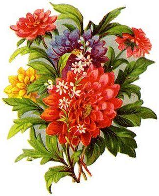 Vintage Winter Clip Art | Vintage Victorian Imagens e Cartões Postais: Vintage Flowers