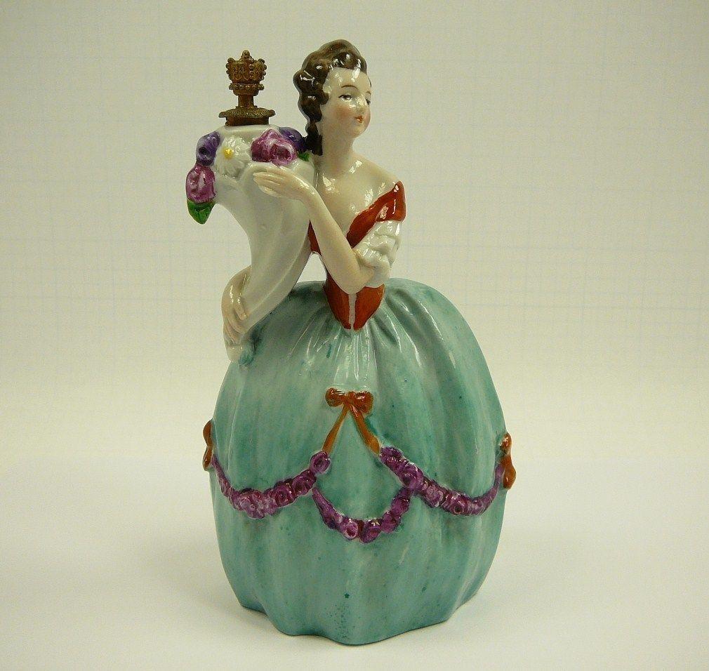 Coronet German Porcelain Figural Lady Perfume Bottle Figurine Germany Crown vtg | eBay