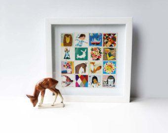 Blije collage van originele Memory kaartjes uit de jaren 70. Ideaal als kraamcadeau of gewoon mooi voor de kinder-/babykamer. In diepe witte houten lijst, collage op achtergrond.  25 x 25 x 4 cm  *** Prijs inclusief lijst! ***  Verzenden binnen Nederland 5,75 € Vrezenden binnen EU 10,– € Andere bestemmingen op aanvraag  Kijk ook naar mijn andere collages en vintage prints