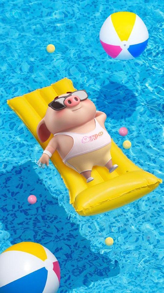 Tuyển tập những hình nền chú lợn hồng chibi đi du lịch biển hài hước