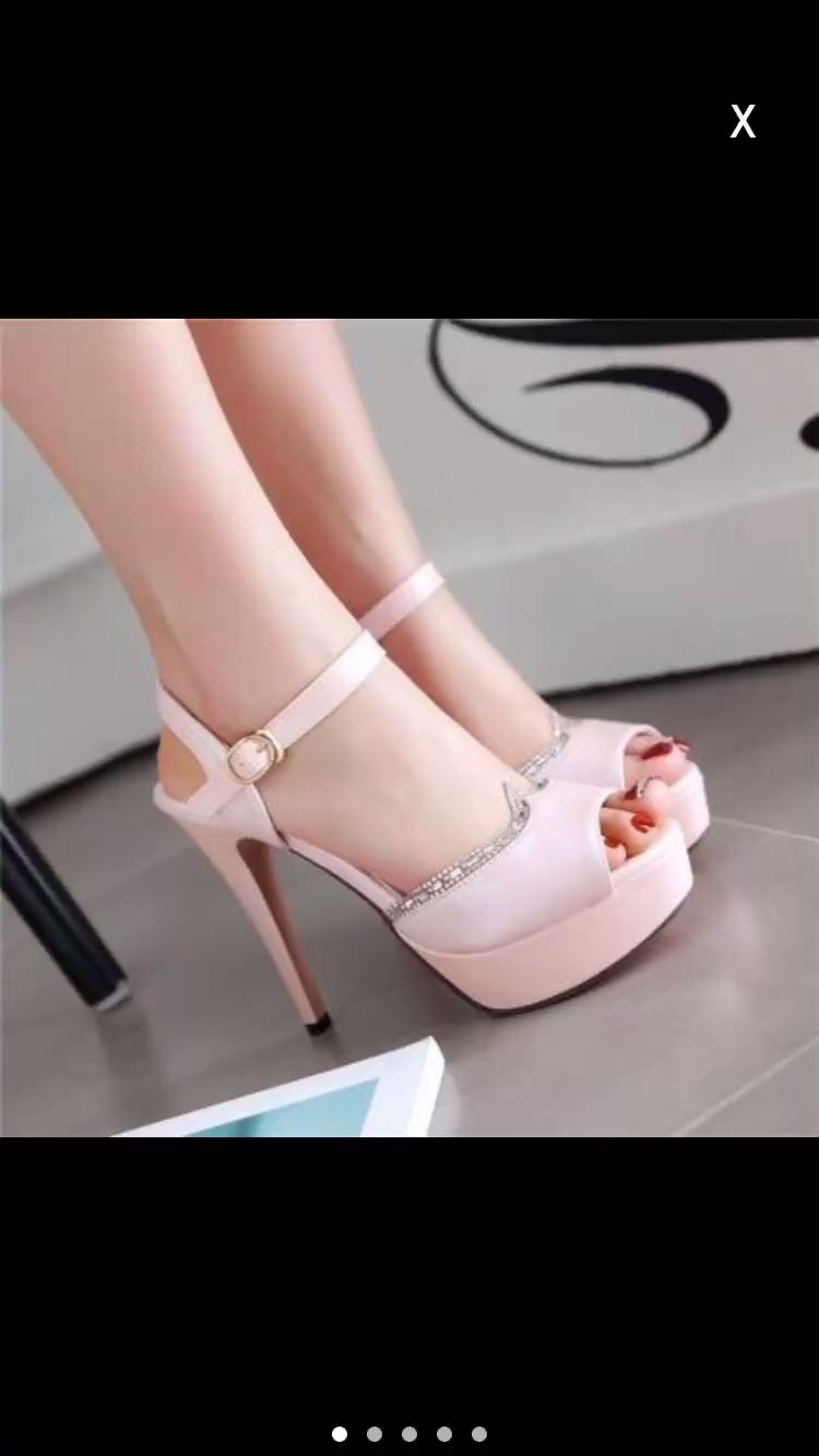 Photo of Fashion Gorgeous Peep Toe Rhinestone High Heels Sandals