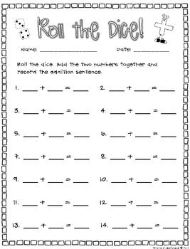 math worksheet : 1000 images about math doubles on pinterest  math first grade  : Dice Addition Worksheet