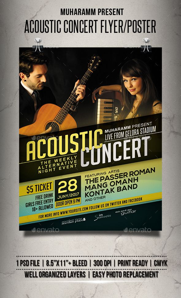 Acoustic Concert Flyer / Poster Concert flyer, Event flyers and - music flyer template