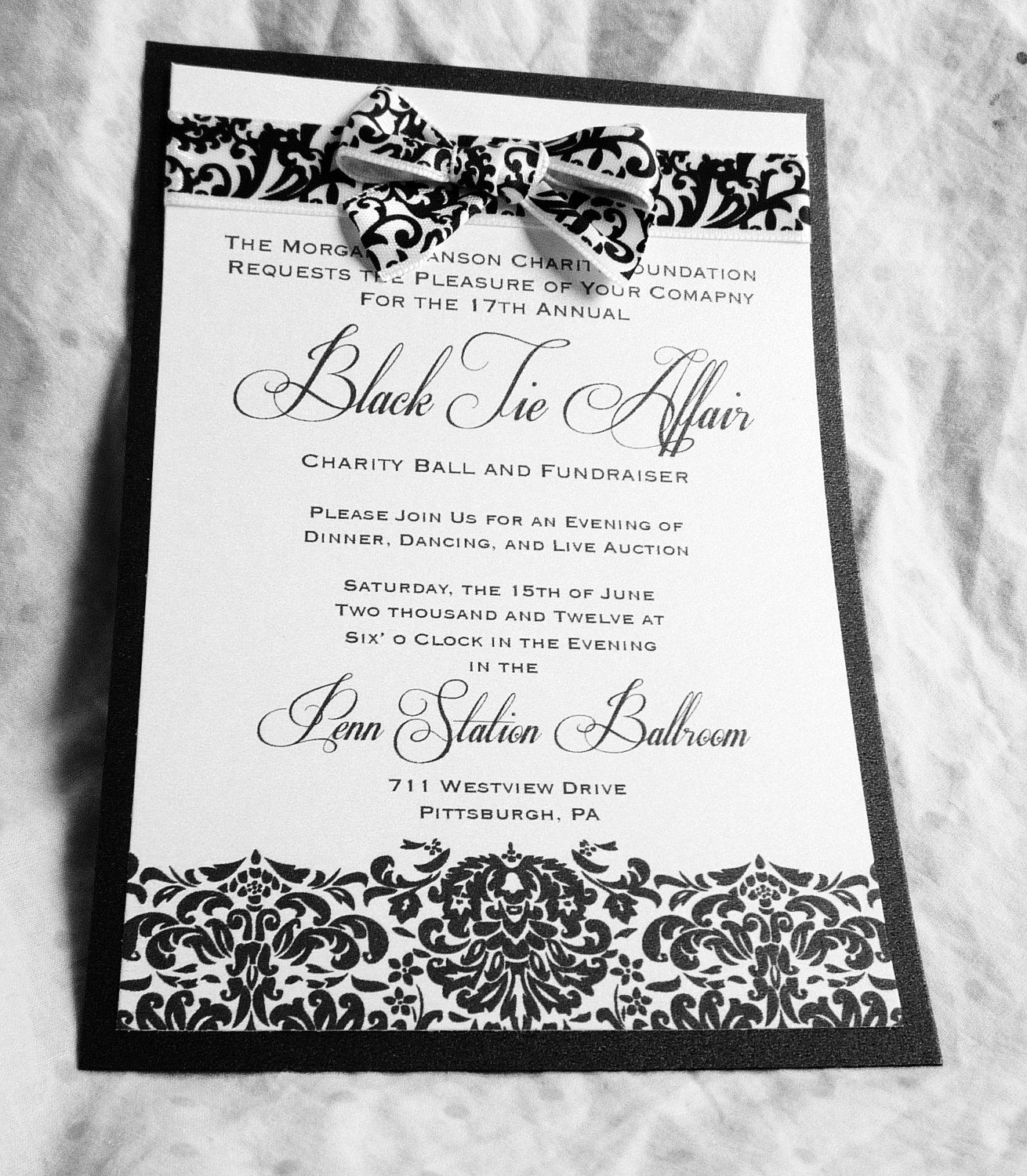 Classic Damask Black And White Event Invitations My Etsy Shop